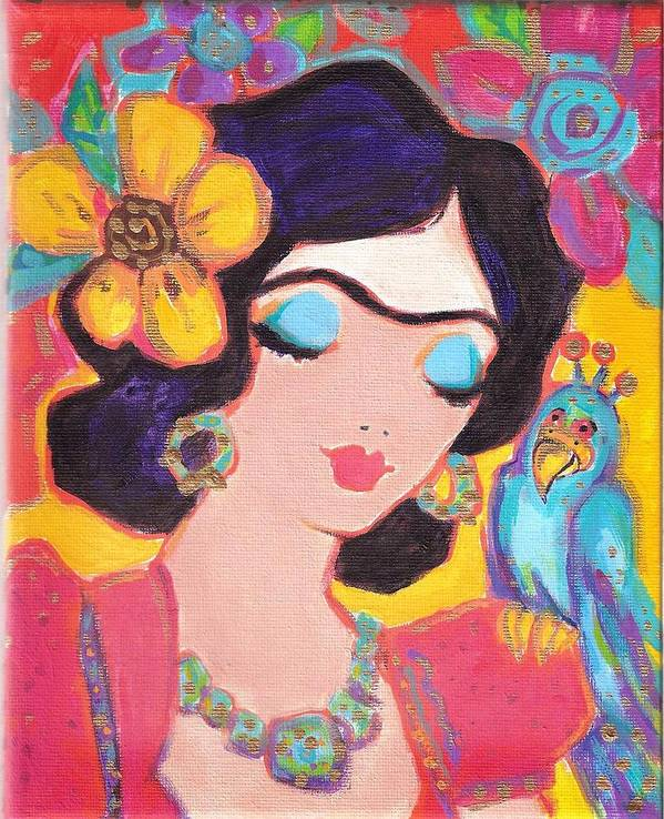 Frida Kahlo Art Print featuring the painting Lovely Frida And Little Blue Parrot by Karen Haring