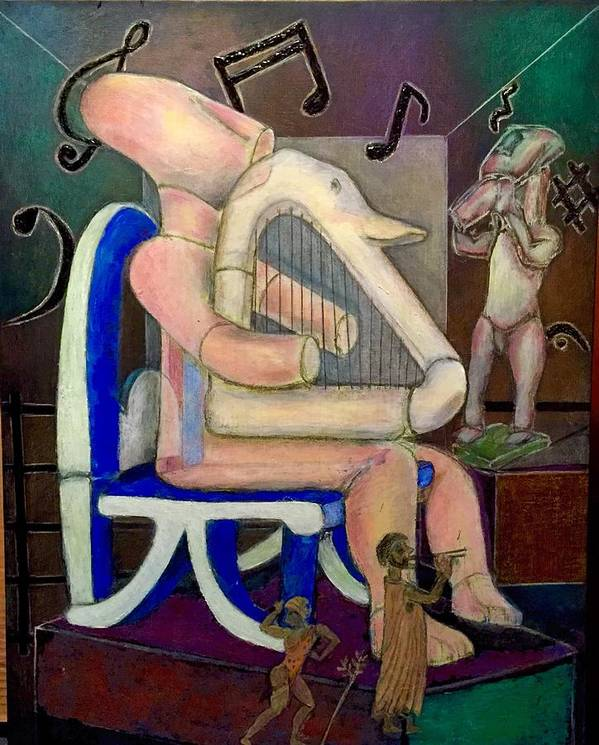 Musicians Art Print featuring the painting Lyre Player-1 by Ismael Alicea-Santiago