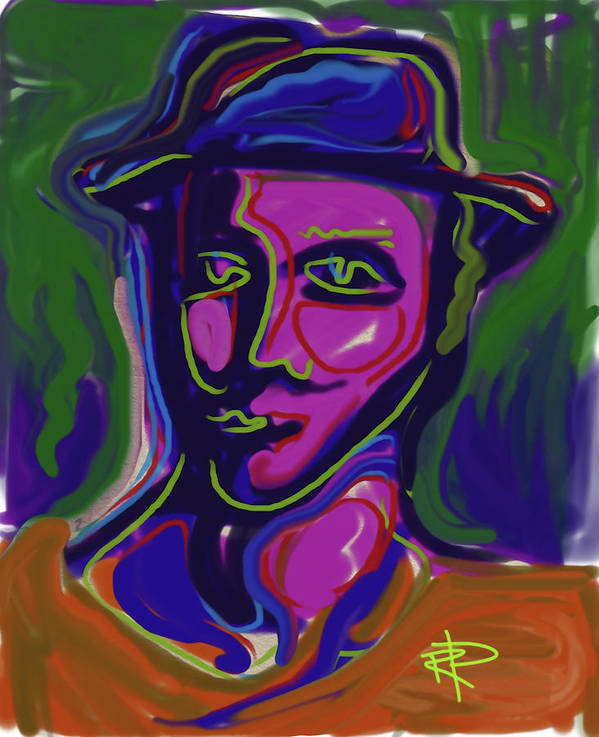 Abstract Art Print featuring the digital art Man In Blue Hat by Russell Pierce