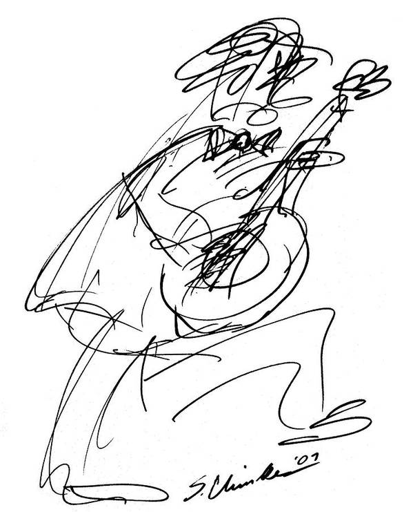 Guitarist Art Print featuring the drawing Master Guitarist by Sam Chinkes