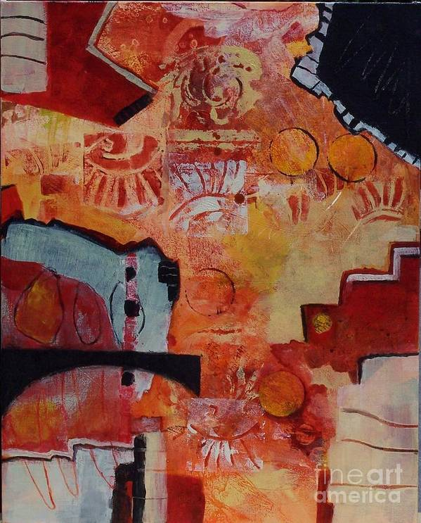 Abstract Expressionism Art Print featuring the painting Mayan Shaman by Donna Frost