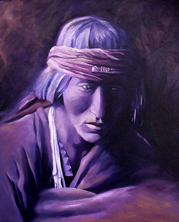 Native American Art Print featuring the painting Medicine Man by Nancy Griswold