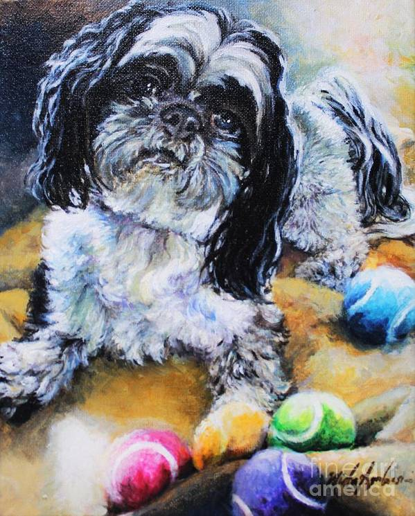 Shih Tzu Art Print featuring the painting Meilee by Misha Ambrosia