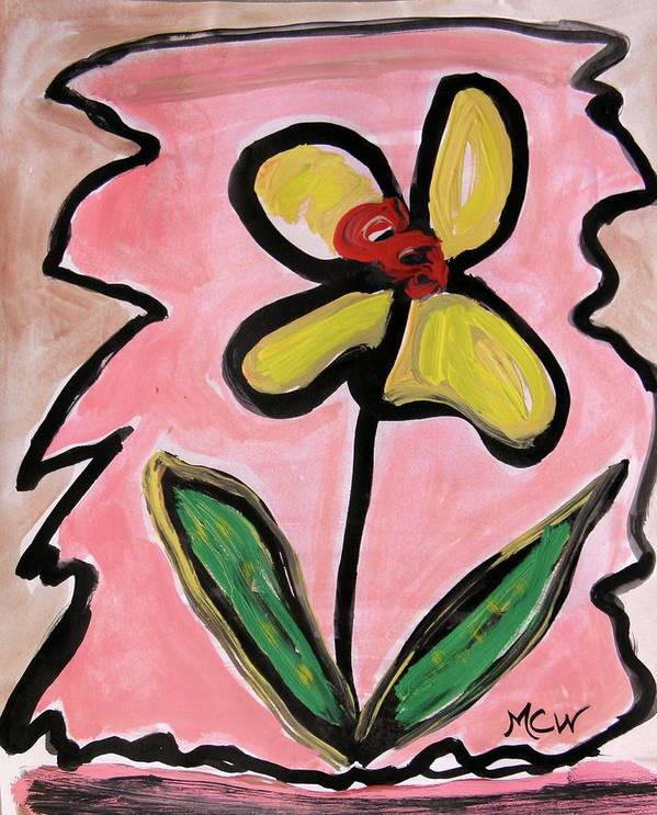 Flower Art Print featuring the painting Message Of Yellow by Mary Carol Williams