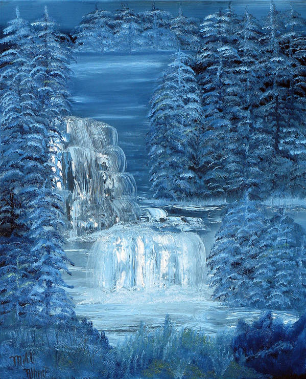 Waterfall Art Print featuring the painting Midnight Falls by Mikki Alhart