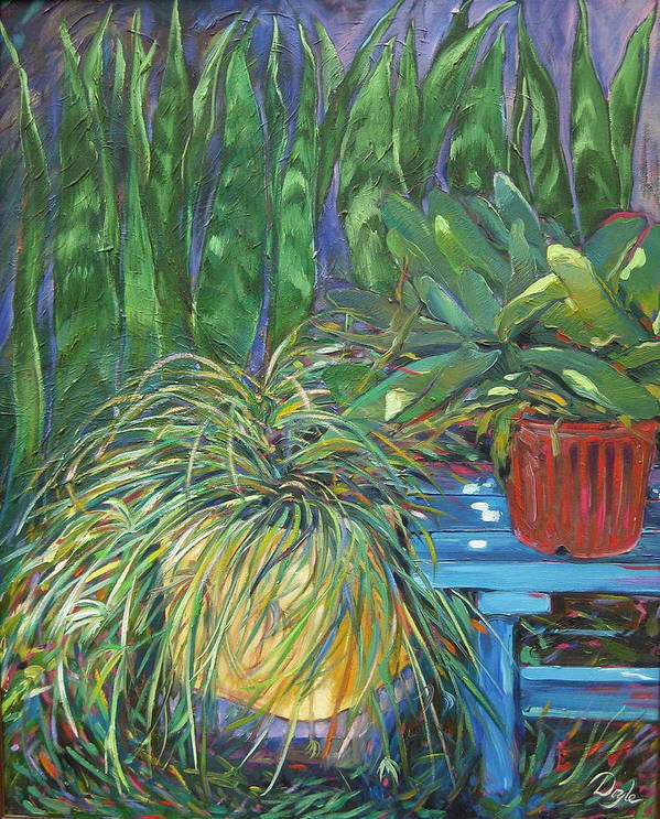 Spider Plant Art Print featuring the painting Moonlit Garden by Karen Doyle