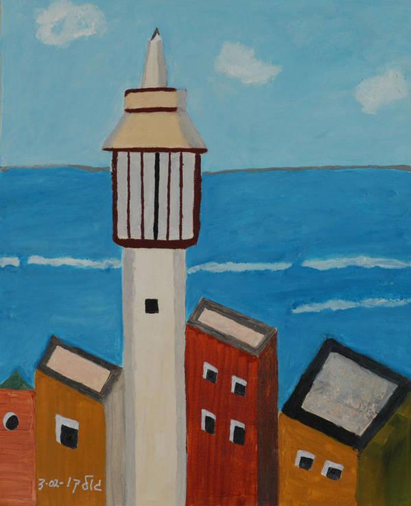Religoius Seashore Mosque Art Print featuring the painting Mosque Seen From Jaffa Restaurant  by Harris Gulko