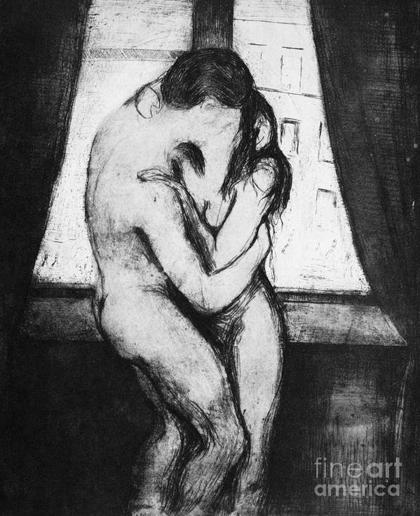 1895 Art Print featuring the photograph The Kiss, 1895 by Edvard Munch