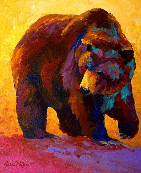 Bear Art Print featuring the painting My Fish - Grizzly Bear by Marion Rose