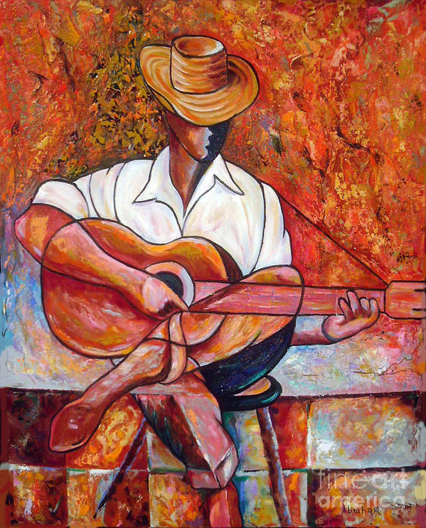 Cuba Art Art Print featuring the painting My Guitar by Jose Manuel Abraham