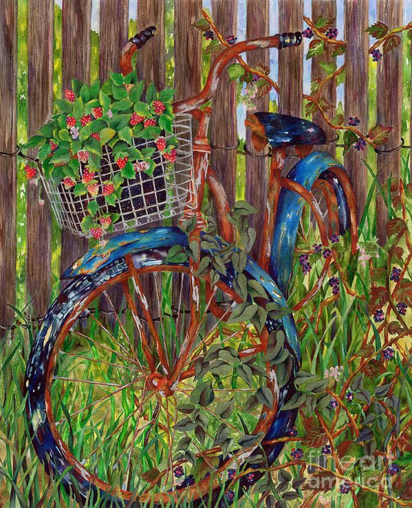 Bicycle Art Print featuring the painting Nostalgia by Winona Steunenberg