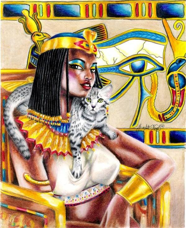 Egyptian Mau Art Print featuring the drawing Nubian Queen by Scarlett Royal