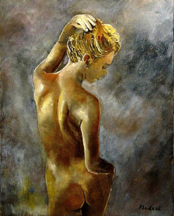 Girl Nude Art Print featuring the painting Nude 27 by Pol Ledent