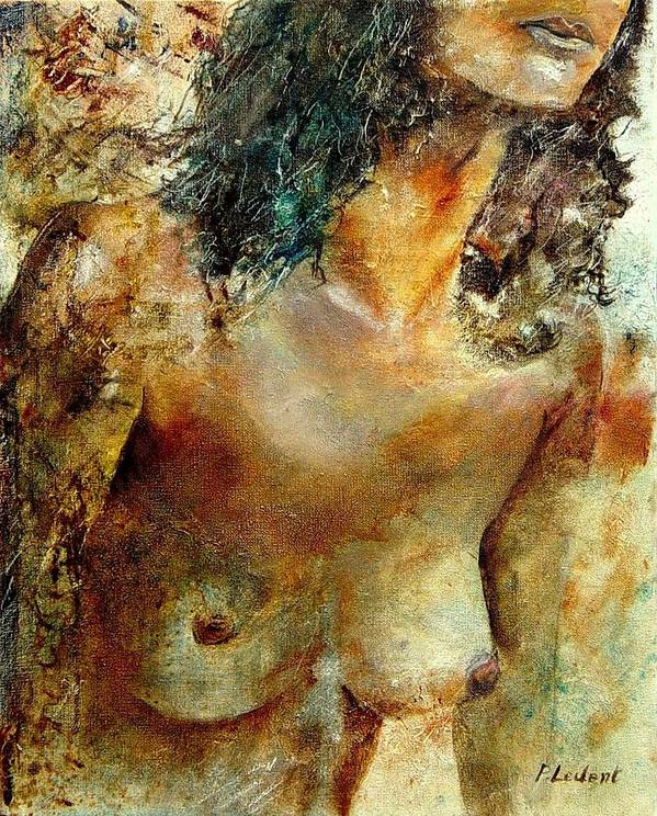 Girl Nude Art Print featuring the painting Nude 34 by Pol Ledent