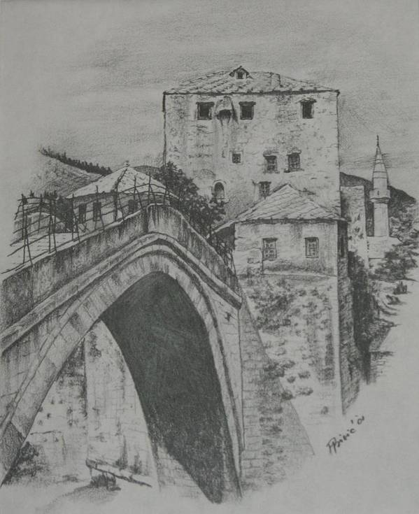 Old Art Print featuring the drawing Old Bridge -mostar by Meliha Bisic