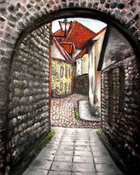 Town Art Print featuring the painting Old Town Oil Paining by Natalja Picugina