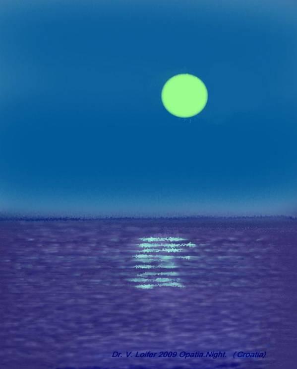 Landscape Art Print featuring the digital art Opatia.night. Croatia by Dr Loifer Vladimir