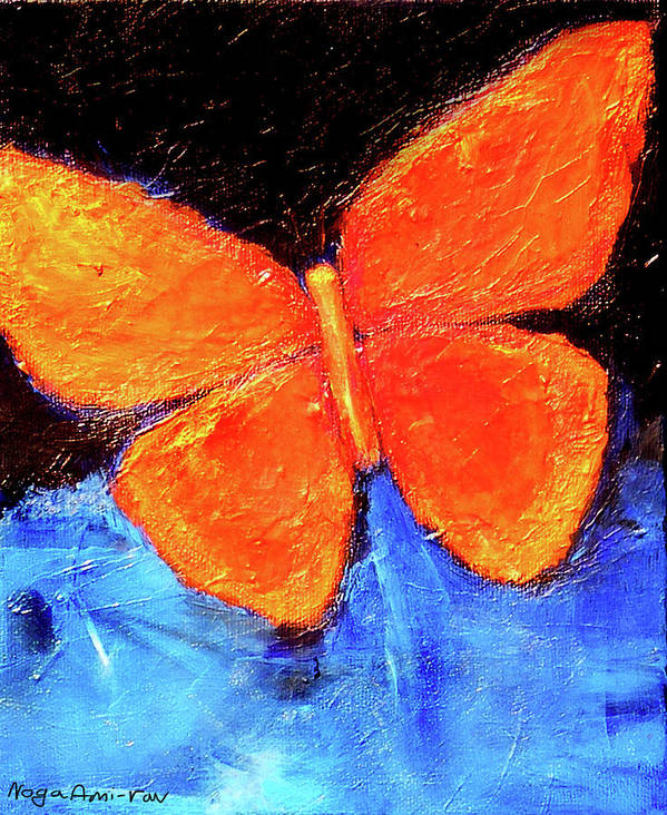 Butterfly Art Print featuring the painting Orange Butterfly by Noga Ami-rav