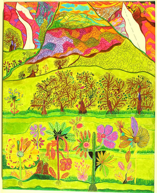 Garden Art Print featuring the drawing Paradise by Eric Devan
