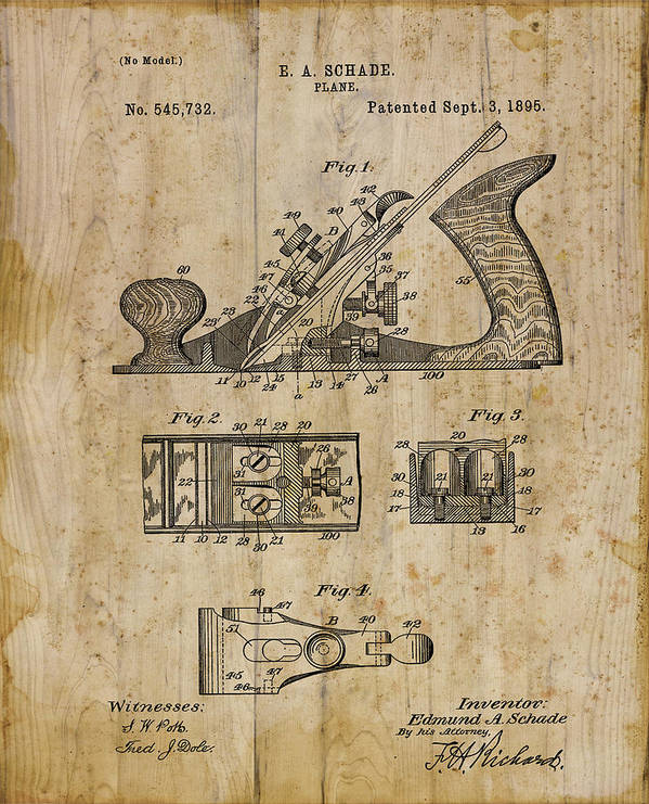 Patent Art Print featuring the digital art Patent Art Plane 1895 by Cynthia Decker