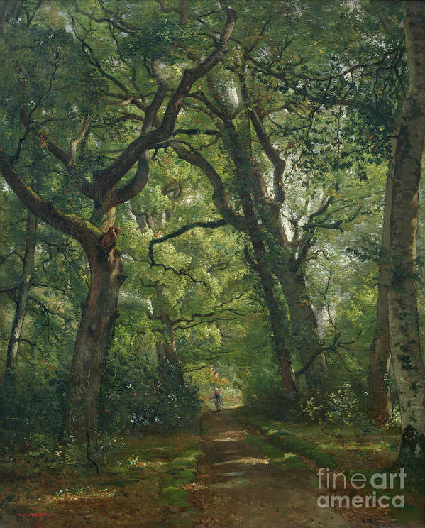 Path Art Print featuring the painting Path In The Forest by Henri Joseph Constant Dutilleux