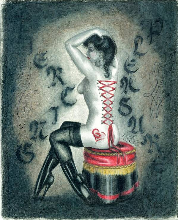 Erotic Art Print featuring the drawing Piercing Pleasure by Scarlett Royal
