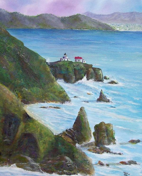 Lighthouse Art Print featuring the painting Point Bonita Lighthouse by Tony Rodriguez