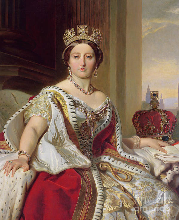 Female; Three-quarter Length; Seated; Crown; Ermine-trimmed Robe; Ermine; Jewellery; Jewelry; Queen; Royal; Imposing; Regal; Robes; Official; Formal; Young; Youth; Queen Art Print featuring the painting Portrait Of Queen Victoria by Franz Xavier Winterhalter