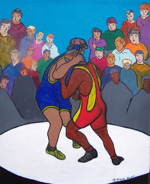Figurative Art Print featuring the painting Public Display Of Agression by Shane Hurd