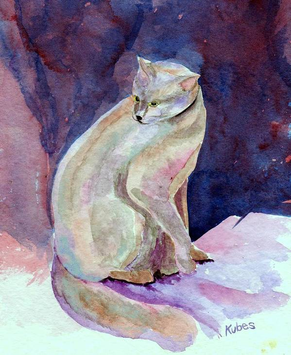 Cat Art Print featuring the painting Purple Cat by Susan Kubes
