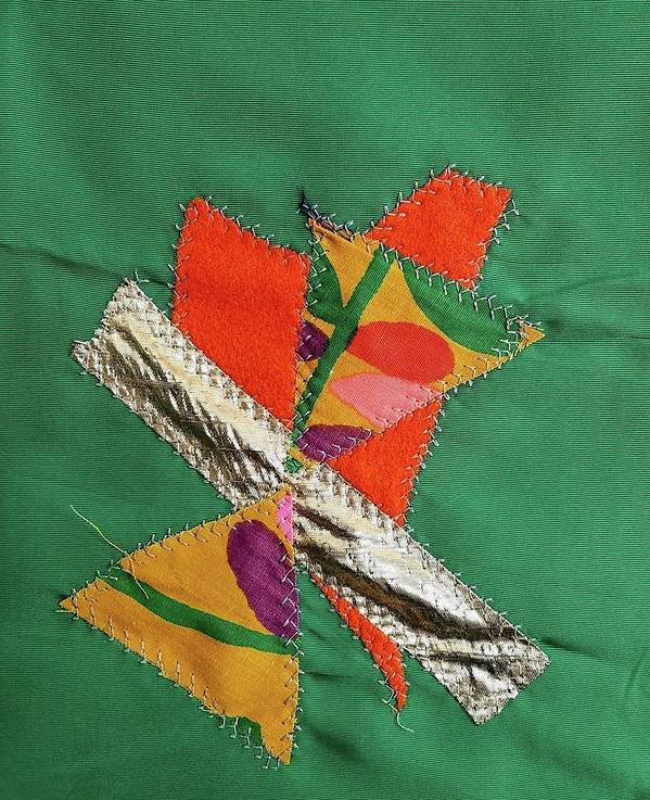 Textile Art Print featuring the tapestry - textile Quilt Block 2 by Betty Lu Aldridge