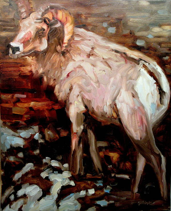 Animal Paintings Art Print featuring the painting RAM by Brian Simons