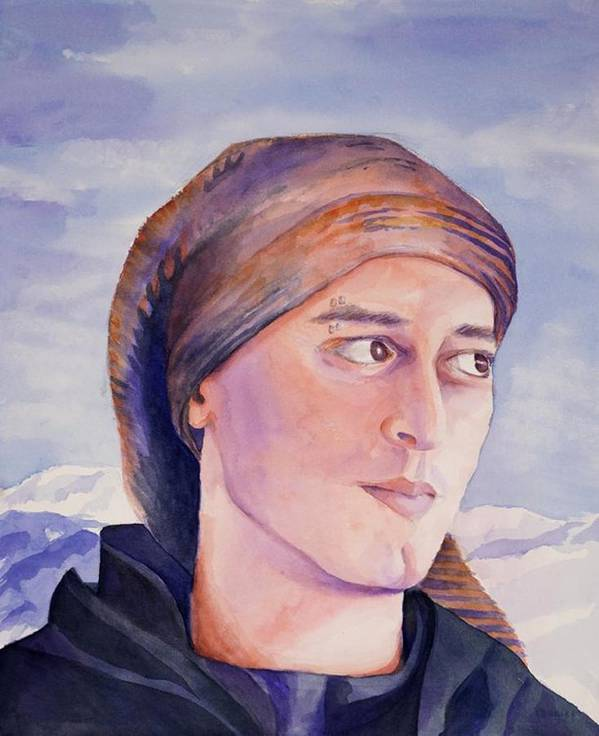 Man In Ski Cap Art Print featuring the painting Ram by Judy Swerlick