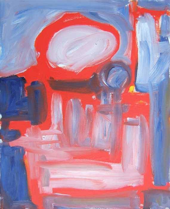 Abstract Art Print featuring the painting Red Composition by Michael Henderson