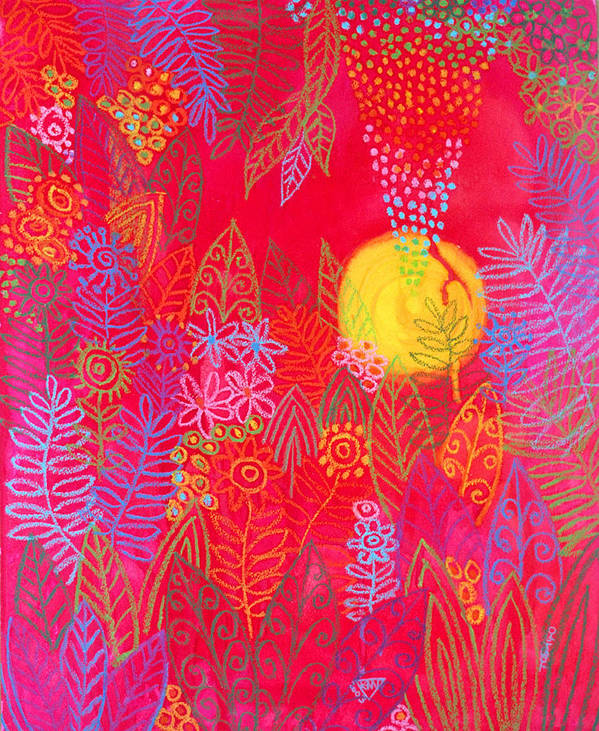 Red Jungle Sun Passion Tropical Exotic Carribean Art Print featuring the painting Red Jungle Passionate Sun by Jennifer Baird