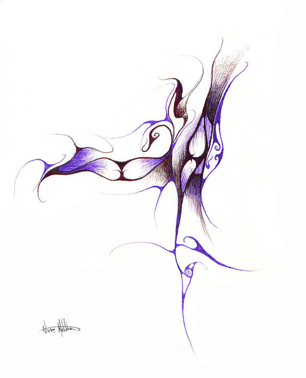 Abstract Art Print featuring the drawing Rhapsody Of Contortion by Nathaniel Hoffman