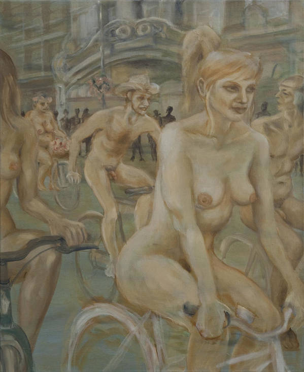 Nude In Motion Art Print featuring the painting Riding Passed Burlington Arcade In June by Peregrine Roskilly