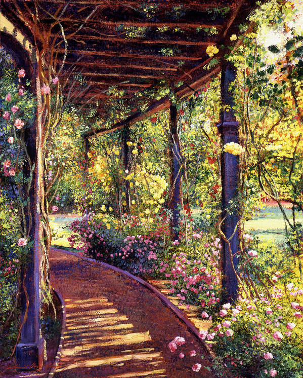 Flowers Art Print featuring the painting Rose Arbor Toluca Lake by David Lloyd Glover