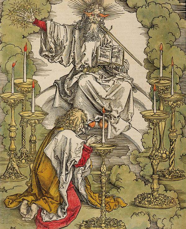 Saint John On The Island Of Patmos Receives Inspiration From God To Create  The Apocalypse Art Print