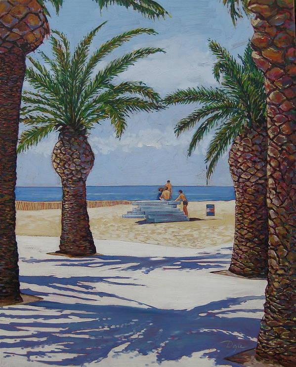 Beach Art Print featuring the painting Santa Monica Beach by Karen Doyle