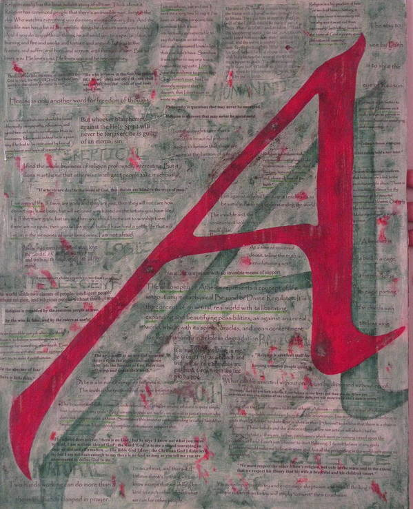 Atheist Art Print featuring the painting Scarlet Letter With Green Background by Mary VanDenBerg