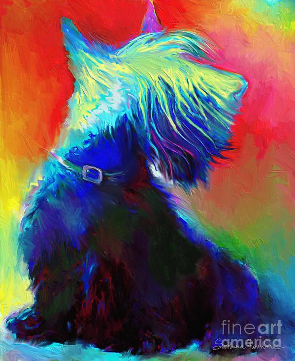 Scottish Terrier Painting Print featuring the painting Scottish Terrier Dog Painting by Svetlana Novikova