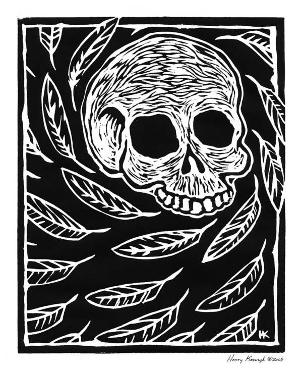 Krauzyk Art Print featuring the print Skull And Feathers by Henry Krauzyk