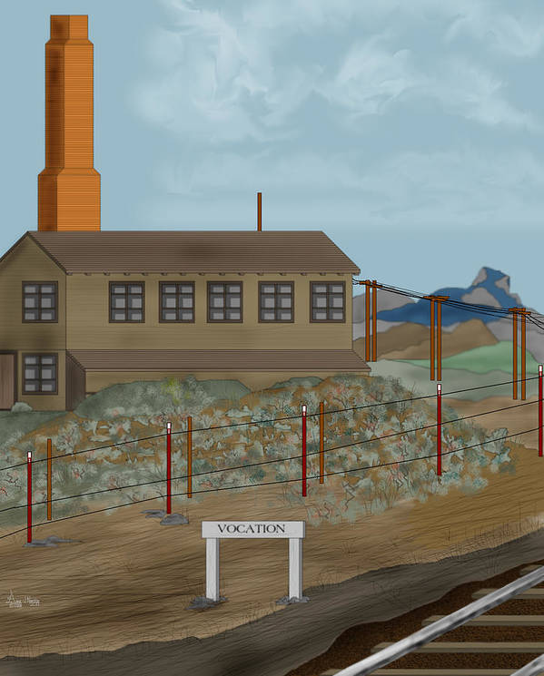 Camp Vocation Art Print featuring the painting Smokestack And Heart Mountain At Camp Vocation by Anne Norskog