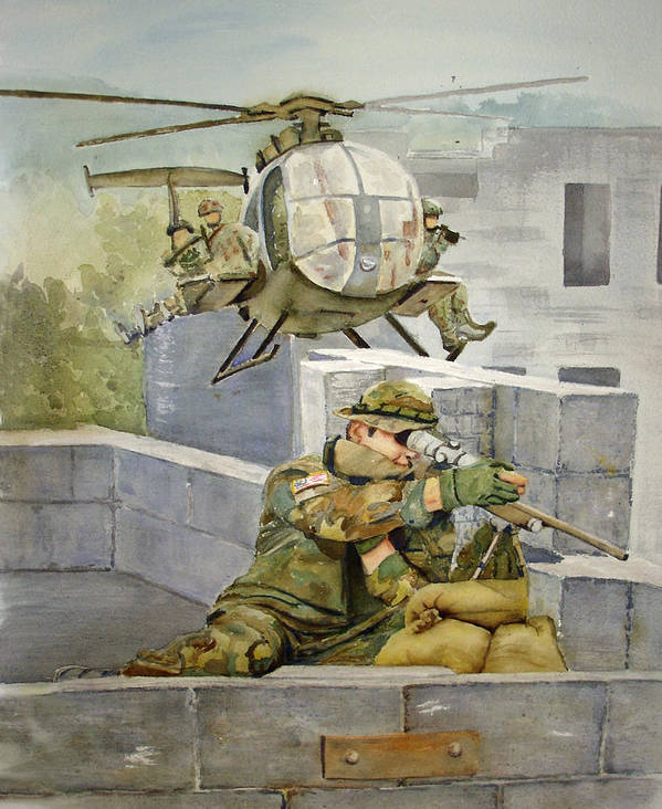 Soldier Art Print featuring the painting Sniper Military Tribute by Kerra Lindsey