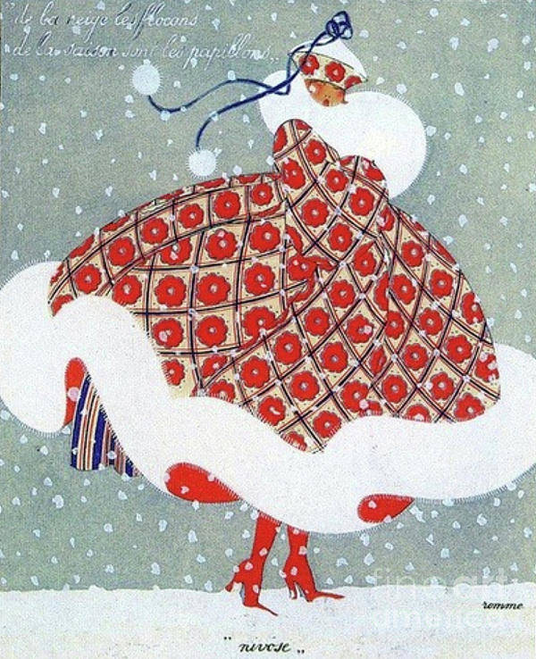 Snow Art Print featuring the drawing Snow Girl by Grant Island Vintage