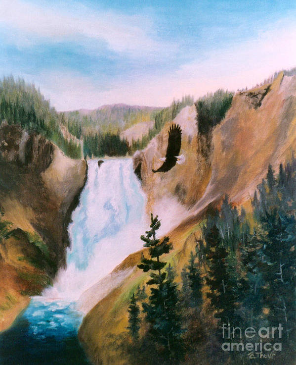 Waterfall Art Print featuring the painting Soaring High II by Brenda Thour