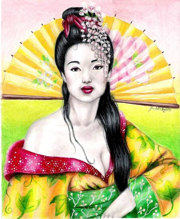 Geisha Art Print featuring the drawing Spring Geisha by Scarlett Royal