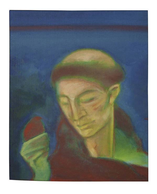 St Francis Os Assisi Art Print featuring the painting St. Francis Of Assisi And The Bird by Rogerio Dias