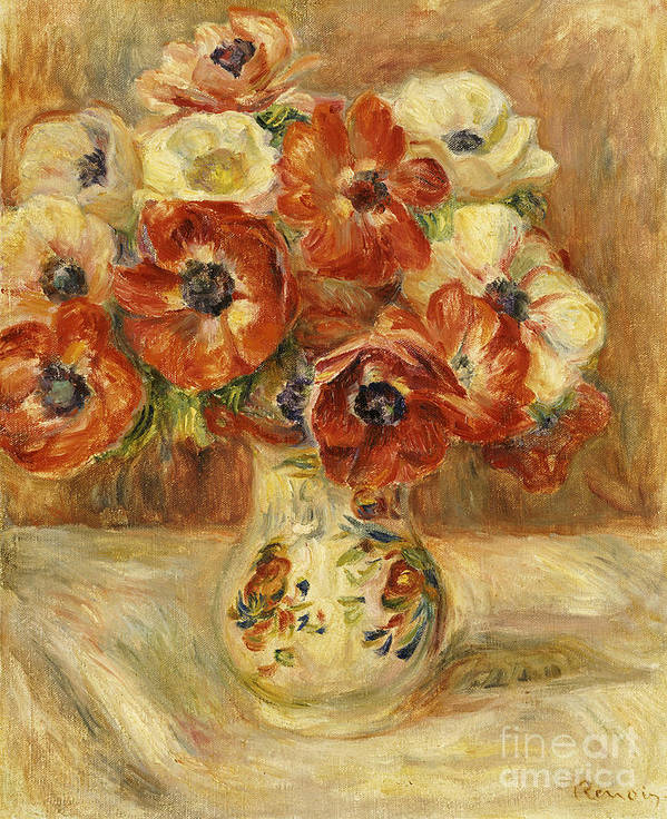 Impressionist; Impressionism; Flower; Vase; Leaves Art Print featuring the painting Still Life With Anemones by Pierre Auguste Renoir